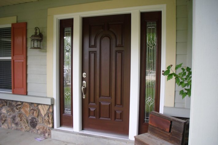 Stained Fiberglass Front Door